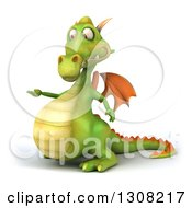 Clipart Of A 3d Green Dragon Presenting To The Left Royalty Free Illustration