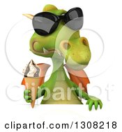 Clipart Of A 3d Green Dragon Wearing Sunglasses And Holding A Waffle Ice Cream Cone Over A Sign Royalty Free Illustration