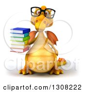Clipart Of A 3d Bespectacled Yellow Dragon Holding A Stack Of Books Royalty Free Illustration