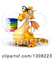 Clipart Of A 3d Bespectacled Yellow Dragon Facing Left And Holding A Stack Of Books Royalty Free Illustration