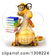 Clipart Of A 3d Bespectacled Yellow Dragon Giving A Thumb Up And Holding A Stack Of Books Royalty Free Illustration