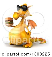 Clipart Of A 3d Yellow Dragon Wearing Sunglasses Facing Left And Holding A Double Cheeseburger Royalty Free Illustration