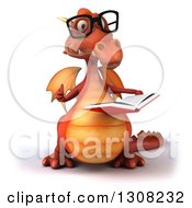 Clipart Of A 3d Bespectacled Red Dragon Giving A Thumb Up And Reading A Book Royalty Free Illustration