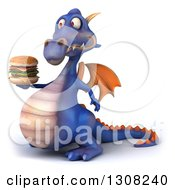 Clipart Of A 3d Purple Dragon Facing Left And Holding A Double Cheeseburger Royalty Free Illustration