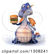 Clipart Of A 3d Purple Dragon Holding A Double Cheeseburger Royalty Free Illustration