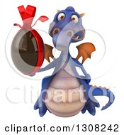 Clipart Of A 3d Purple Dragon Holding A Chocolate Easter Egg Royalty Free Illustration