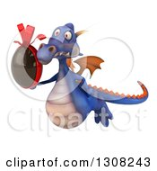 Clipart Of A 3d Purple Dragon Flying To The Left And Holding A Chocolate Easter Egg Royalty Free Illustration