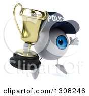 Clipart Of A 3d Blue Police Eyeball Character Facing Slightly Right Jumping And Holding A Trophy Royalty Free Illustration