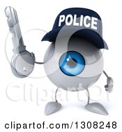Clipart Of A 3d Blue Police Eyeball Character Holding A Key Royalty Free Illustration