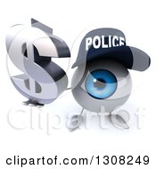 Clipart Of A 3d Blue Police Eyeball Character Holding Up A Dollar Symbol Royalty Free Illustration
