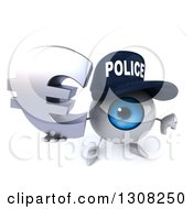 Clipart Of A 3d Blue Police Eyeball Character Holding Up A Thumb Down And Euro Symbol Royalty Free Illustration