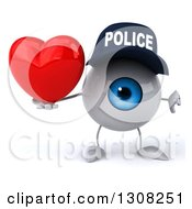 Clipart Of A 3d Blue Police Eyeball Character Holding A Heart And Thumb Down Royalty Free Illustration