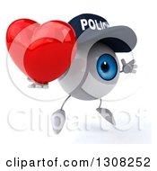 Clipart Of A 3d Blue Police Eyeball Character Facing Slightly Right Jumping And Holding A Heart Royalty Free Illustration