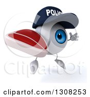 Clipart Of A 3d Blue Police Eyeball Character Facing Slightly Right Jumping And Holding A Beef Steak Royalty Free Illustration