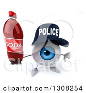 Clipart Of A 3d Blue Police Eyeball Character Holding Up A Thumb Down And Soda Bottle Royalty Free Illustration