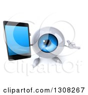 Clipart Of A 3d Blue Eyeball Character Holding Up A Cell Phone And Gesturing Call Me Royalty Free Illustration