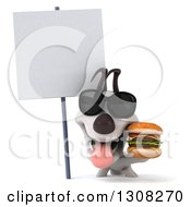 Clipart Of A 3d Jack Russell Terrier Dog Wearing Sunglasses And Holding A Double Cheeseburger Under A Blank Sign Royalty Free Illustration