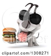 Clipart Of A 3d Jack Russell Terrier Dog Wearing Sunglasses And Holding A Double Cheeseburger Royalty Free Illustration