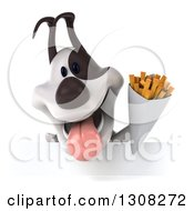 Clipart Of A 3d Jack Russell Terrier Dog Holding French Fries Over A Sign Royalty Free Illustration