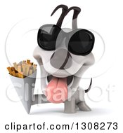 Clipart Of A 3d Jack Russell Terrier Dog Wearing Sunglasses And Holding French Fries Royalty Free Illustration