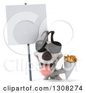 Clipart Of A 3d Jack Russell Terrier Dog Wearing Sunglasses And Holding Fries Under A Blank Sign Royalty Free Illustration