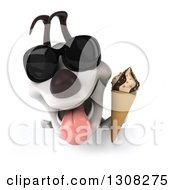 Clipart Of A 3d Jack Russell Terrier Dog Wearing Sunglasses And Holding A Waffle Ice Cream Cone Over A Sign Royalty Free Illustration