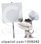 3d Jack Russell Terrier Dog Chef Smiling Up At A Blank Sign