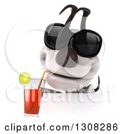 Clipart Of A 3d Jack Russell Terrier Dog Wearing Sunglasses And Sipping A Drink Over A Sign Royalty Free Illustration