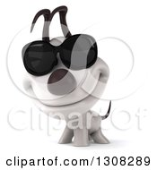 Clipart Of A 3d Jack Russell Terrier Dog Wearing Sunglasses Royalty Free Illustration
