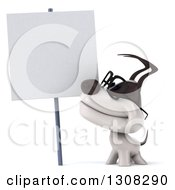 Clipart Of A 3d Bespectacled Jack Russell Terrier Dog Smiling Up At A Blank Sign Royalty Free Illustration