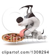 Clipart Of A 3d Jack Russell Terrier Dog Running To The Left With A Pizza Royalty Free Illustration