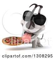 Clipart Of A 3d Jack Russell Terrier Dog Wearing Sunglasses And Holding A Pizza Royalty Free Illustration