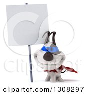 Clipart Of A 3d Jack Russell Terrier Dog Super Hero Smiling Under A Blank Sign Royalty Free Illustration