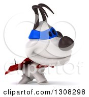 Clipart Of A 3d Jack Russell Terrier Dog Super Hero Walking To The Right Royalty Free Illustration