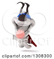 Clipart Of A 3d Jack Russell Terrier Dog Super Hero Leaping Royalty Free Illustration