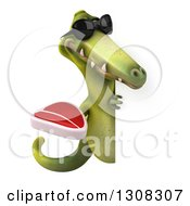 Clipart Of A 3d Green Dinosaur Wearing Sunglasses And Holding A Beef Steak Around A Sign Royalty Free Illustration