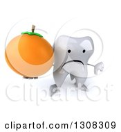 Clipart Of A 3d Unhappy Tooth Character Holding Up An Orange And Thumb Down Royalty Free Illustration
