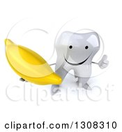 Clipart Of A 3d Happy Tooth Character Holding Up A Banana And Thumb Royalty Free Illustration