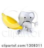 Clipart Of A 3d Unhappy Tooth Character Holding Up A Thumb Down And A Banana Royalty Free Illustration