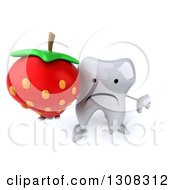 Clipart Of A 3d Unhappy Tooth Character Holding Up A Strawberry And Thumb Down Royalty Free Illustration