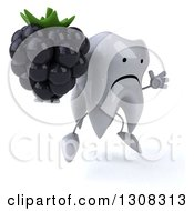 Clipart Of A 3d Unhappy Tooth Character Facing Right Jumping And Holding A Blackberry Royalty Free Illustration