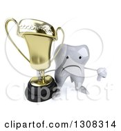 Clipart Of A 3d Unhappy Tooth Character Holding Up A Thumb Down And A Trophy Royalty Free Illustration