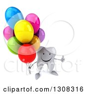 Clipart Of A 3d Happy Tooth Character Holding Up A Thumb And Party Balloons Royalty Free Illustration