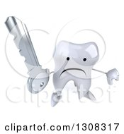 Clipart Of A 3d Unhappy Tooth Character Holding Up A Key And Thumb Down Royalty Free Illustration