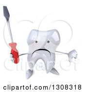 Clipart Of A 3d Unhappy Tooth Character Hlding Up A Screwdriver And Thumb Down Royalty Free Illustration