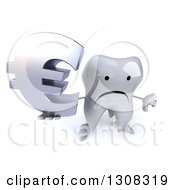 Clipart Of A 3d Unhappy Tooth Character Holding Up A Euro Symbol And Thumb Down Royalty Free Illustration