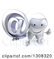 Clipart Of A 3d Happy Tooth Character Holding Up A Thumb And Email Arobase At Symbol Royalty Free Illustration