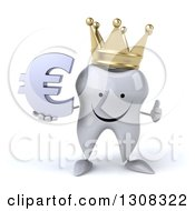 Clipart Of A 3d Happy Crowned Tooth Character Holding A Thumb Up And Euro Symbol Royalty Free Illustration