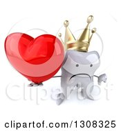 Clipart Of A 3d Unhappy Crowned Tooth Character Holding Up A Thumb Down And A Heart Royalty Free Illustration