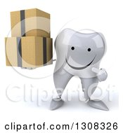 Clipart Of A 3d Happy Tooth Character Holding And Pointing To Boxes Royalty Free Illustration